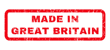 Made In Great Britain text rubber seal stamp watermark. Tag inside rounded rectangular shape with grunge design and dirty texture. Horizontal vector red ink emblem on a white background.