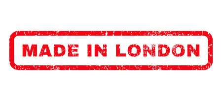 Made In London text rubber seal stamp watermark. Tag inside rounded rectangular shape with grunge design and scratched texture. Horizontal vector red ink sign on a white background.