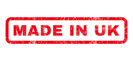 Made In UK text rubber seal stamp watermark. Tag inside rounded rectangular shape with grunge design and unclean texture. Horizontal vector red ink sticker on a white background.