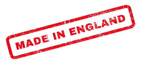 Made In England text rubber seal stamp watermark. Tag inside rounded rectangular shape with grunge design and unclean texture. Slanted vector red ink sign on a white background.