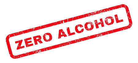 Zero Alcohol text rubber seal stamp watermark. Tag inside rounded rectangular shape with grunge design and scratched texture. Slanted glyph red ink sticker on a white background.