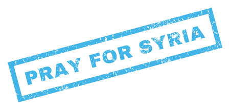 Pray For Syria text rubber seal stamp watermark. Tag inside rectangular banner with grunge design and scratched texture. Inclined vector blue ink emblem on a white background.