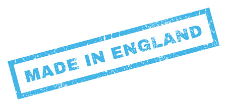 Made In England text rubber seal stamp watermark. Caption inside rectangular banner with grunge design and unclean texture. Inclined vector blue ink sign on a white background.