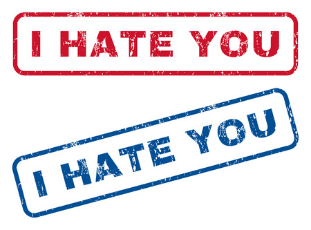 Illustration pour I Hate You text rubber seal stamp watermarks. Vector style is blue and red ink tag inside rounded rectangular banner. Grunge design and scratched texture. Blue and red stickers. - image libre de droit