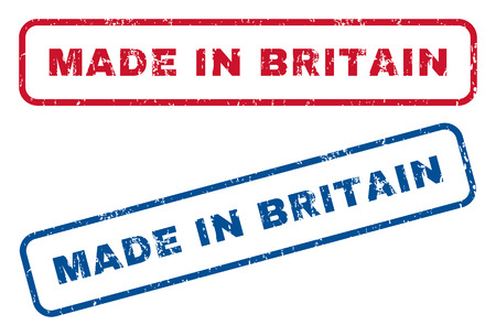 Made In Britain text rubber seal stamp watermarks. Vector style is blue and red ink tag inside rounded rectangular banner. Grunge design and dirty texture. Blue and red emblems.
