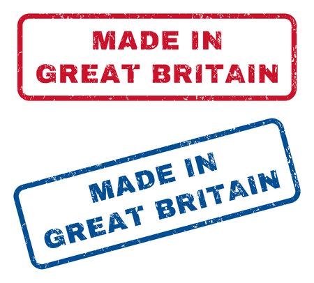Made In Great Britain text rubber seal stamp watermarks. Vector style is blue and red ink caption inside rounded rectangular banner. Grunge design and unclean texture. Blue and red signs.