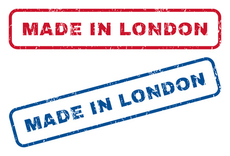 Made In London text rubber seal stamp watermarks. Vector style is blue and red ink tag inside rounded rectangular shape. Grunge design and unclean texture. Blue and red signs.