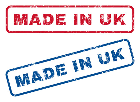 Made In UK text rubber seal stamp watermarks. Vector style is blue and red ink caption inside rounded rectangular banner. Grunge design and scratched texture. Blue and red emblems.
