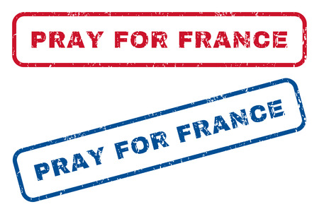 Pray For France text rubber seal stamp watermarks. Vector style is blue and red ink tag inside rounded rectangular banner. Grunge design and dust texture. Blue and red signs.