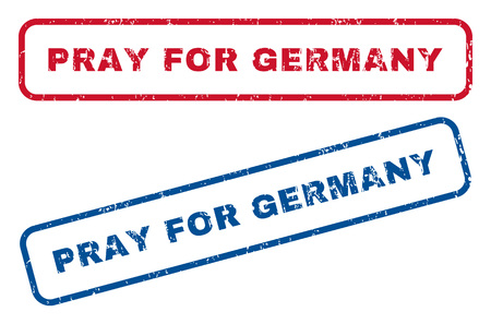 Pray For Germany text rubber seal stamp watermarks. Vector style is blue and red ink caption inside rounded rectangular banner. Grunge design and unclean texture. Blue and red signs.