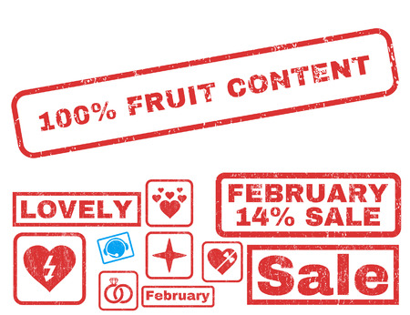 100 Percent Fruit Content text rubber seal stamp watermark with Valentines sale bonus. Tags inside rectangular banner with grunge design and dust texture.