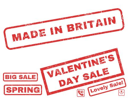 Made In Britain text rubber seal stamp watermark with Valentines sale bonus. Captions inside rectangular shape with grunge design and unclean texture.