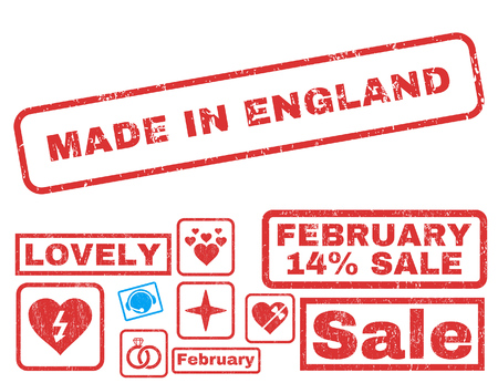 Made In England text rubber seal stamp watermark with Valentines sale bonus. Tags inside rectangular banner with grunge design and dust texture. Vector stickers for trading on a white background.