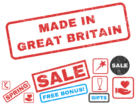 Made In Great Britain text rubber seal stamp watermark with Valentines sale bonus. Tags inside rectangular shape with grunge design and scratched texture.