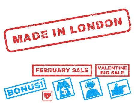 Made In London text rubber seal stamp watermark with Valentines sale bonus. Tags inside rectangular shape with grunge design and dust texture. Vector emblems for trading on a white background.