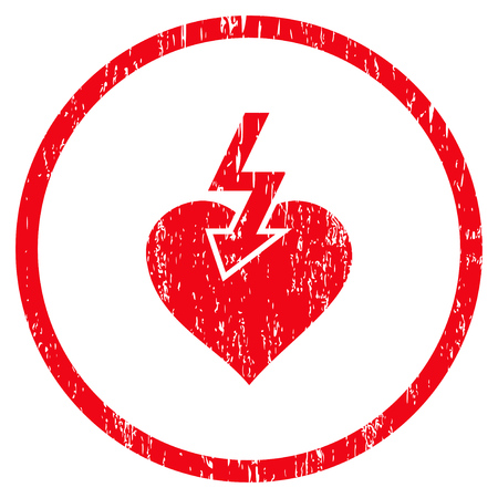 Heart Shock Strike rounded icon  Vector illustration style is flat
