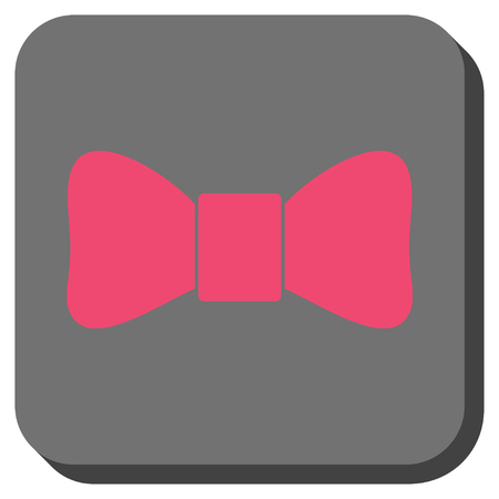 Bow Tie interface toolbar icon. Vector pictogram style is a flat symbol in a rounded square button, pink and gray colors.