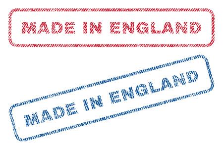 Made In England text textile seal stamp watermarks. Blue, red fabric vectorized texture. Vector caption inside rounded rectangular shape. Rubber emblem with fiber textile structure.