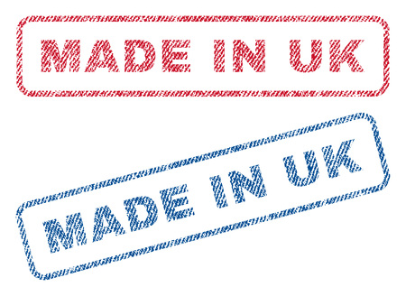 Made In UK text textile seal stamp watermarks. Blue, red fabric vectorized texture. Vector caption inside rounded rectangular banner. Rubber sign with fiber textile structure.