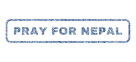 Pray For Nepal text textile seal stamp watermark. Blue jeans fabric vectorized texture. Vector tag inside rounded rectangular shape. Rubber sign with fiber textile structure.