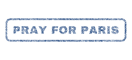 Pray For Paris text textile seal stamp watermark. Blue jeans fabric vectorized texture. Vector caption inside rounded rectangular shape. Rubber sticker with fiber textile structure.