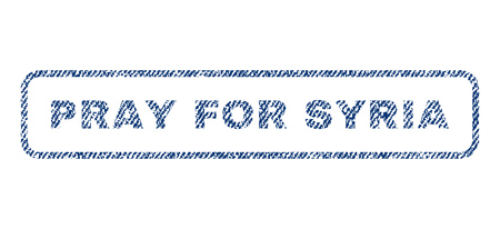 Pray For Syria text textile seal stamp watermark. Blue jeans fabric vectorized texture. Vector caption inside rounded rectangular shape. Rubber sticker with fiber textile structure.