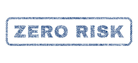 Zero Risk text textile seal stamp watermark. Blue jeans fabric rasterized texture. Raster caption inside rounded rectangular shape. Rubber emblem with fiber textile structure.