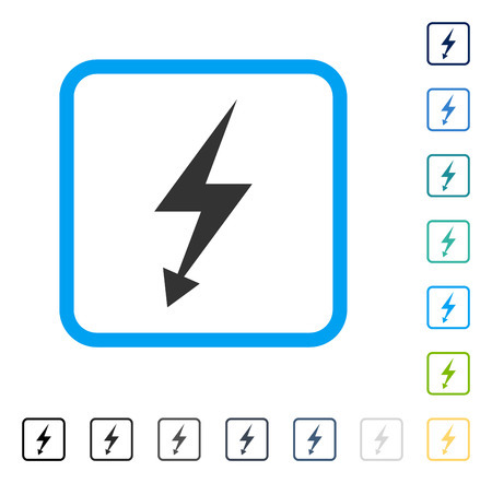 Electric Strike icon inside rounded square frame  Vector