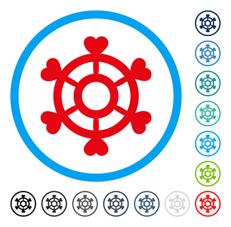 Lovely Boat Steering Wheel icon inside circle frame. Vector illustration style is a flat iconic symbol in some color versions.
