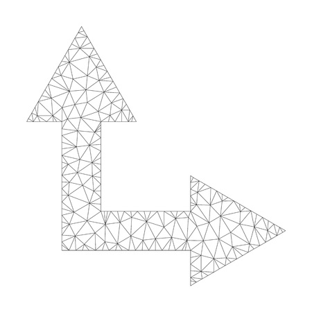 Mesh vector bifurcation arrow right up icon on a white background. Polygonal carcass grey bifurcation arrow right up image in lowpoly style with structured triangles, nodes and linear items.