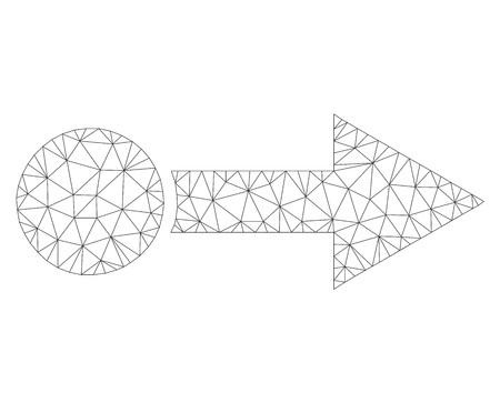 Mesh vector pull right icon on a white background. Polygonal carcass dark gray pull right image in lowpoly style with structured triangles, nodes and lines.