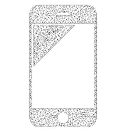Polygonal vector best telephone icon on a white background. Polygonal carcass dark gray best telephone image in low poly style with structured triangles, nodes and lines.