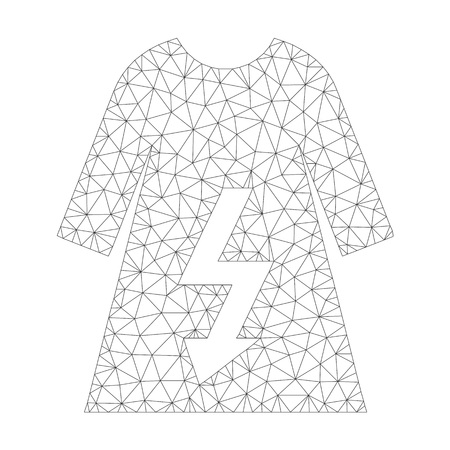 Mesh vector electric woman dress icon on a white background. Polygonal wireframe grey electric woman dress image in low poly style with structured triangles, dots and linear items.