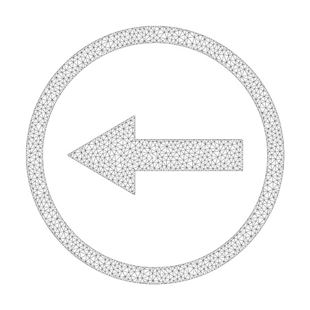 Polygonal vector left rounded arrow icon on a white background. Mesh wireframe gray left rounded arrow image in low poly style with structured triangles, nodes and lines.
