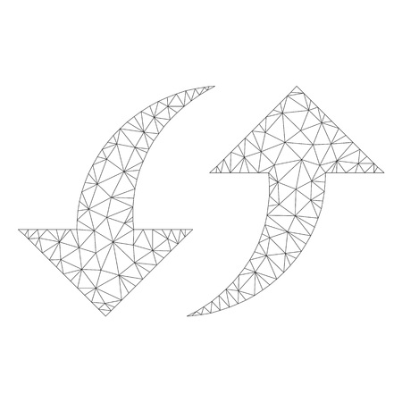 Mesh vector exchange arrows icon on a white background. Polygonal carcass gray exchange arrows image in lowpoly style with structured triangles, nodes and lines.