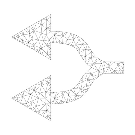 Mesh vector split arrows left icon on a white background. Mesh carcass dark gray split arrows left image in lowpoly style with structured triangles, dots and lines.