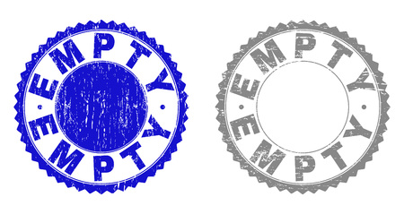 Grunge EMPTY stamp seals isolated on a white background. Rosette seals with grunge texture in blue and grey colors. Vector rubber stamp imprint of EMPTY tag inside round rosette.