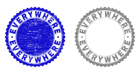 Grunge EVERYWHERE stamp seals isolated on a white background. Rosette seals with distress texture in blue and grey colors. Vector rubber stamp imprint of EVERYWHERE caption inside round rosette.