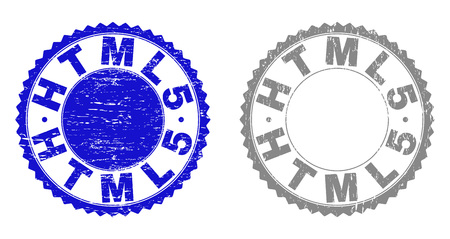 Grunge HTML5 stamp seals isolated on a white background. Rosette seals with grunge texture in blue and gray colors. Vector rubber stamp imitation of HTML5 caption inside round rosette.