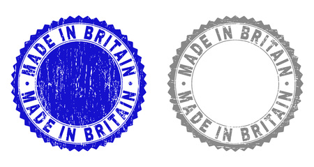 Grunge MADE IN BRITAIN stamp seals isolated on a white background. Rosette seals with grunge texture in blue and gray colors. Vector rubber stamp imprint of MADE IN BRITAIN label inside round rosette.