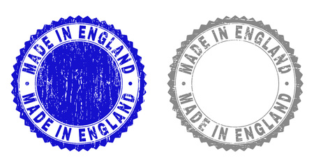 Grunge MADE IN ENGLAND stamp seals isolated on a white background. Rosette seals with grunge texture in blue and gray colors. Vector rubber stamp imprint of MADE IN ENGLAND title inside round rosette.