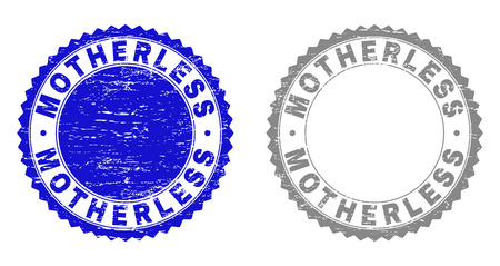 Grunge MOTHERLESS stamp seals isolated on a white background. Rosette seals with grunge texture in blue and gray colors. Vector rubber stamp imprint of MOTHERLESS text inside round rosette.