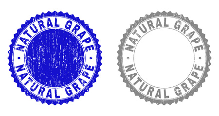 Grunge NATURAL GRAPE stamp seals isolated on a white background. Rosette seals with grunge texture in blue and gray colors. Vector rubber stamp imprint of NATURAL GRAPE caption inside round rosette.