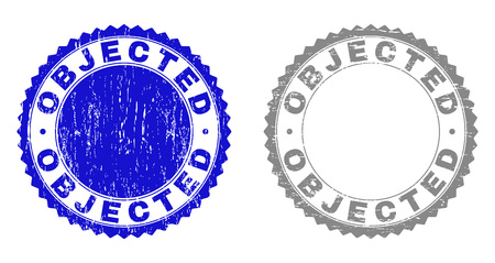 Grunge OBJECTED stamp seals isolated on a white background. Rosette seals with grunge texture in blue and gray colors. Vector rubber overlay of OBJECTED tag inside round rosette.