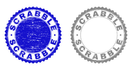Grunge SCRABBLE stamp seals isolated on a white background. Rosette seals with grunge texture in blue and grey colors. Vector rubber stamp imitation of SCRABBLE caption inside round rosette.