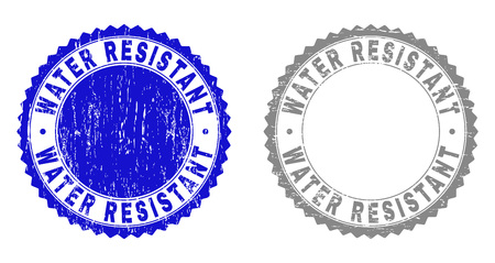 Illustration pour Grunge WATER RESISTANT stamps isolated on a white background. Rosette seals with grunge texture in blue and gray colors. Vector rubber stamp imprint of WATER RESISTANT tag inside round rosette. - image libre de droit