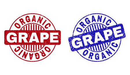 Grunge ORGANIC GRAPE round watermarks isolated on a white background. Round seals with grunge texture in red and blue colors.
