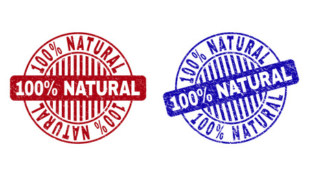 Grunge 100% NATURAL round stamp seals isolated on a white background. Round seals with grunge texture in red and blue colors.
