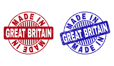 Grunge MADE IN GREAT BRITAIN round stamp seals isolated on a white background. Round seals with grunge texture in red and blue colors.