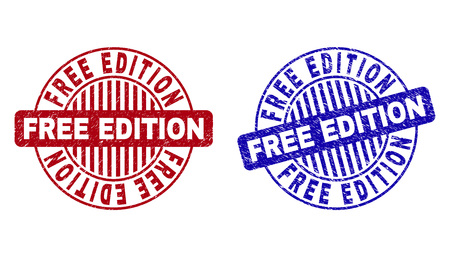 Grunge FREE EDITION round stamp seals isolated on a white background. Round seals with grunge texture in red and blue colors.